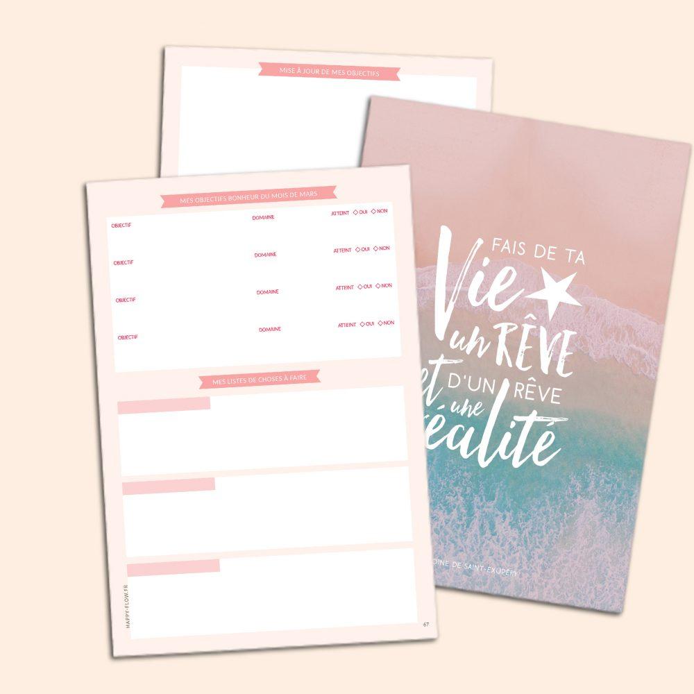 Un carnet pour se fixer des objectifs, faire le bilan de sa vie, noter ses gratitudes et les expériences vécues.