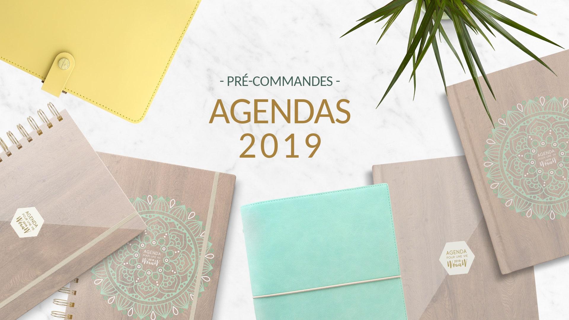 Retrouver sur www.happy-flow.fr les agendas de développement personnel 2019, les planners et les recharges pour planners A5.