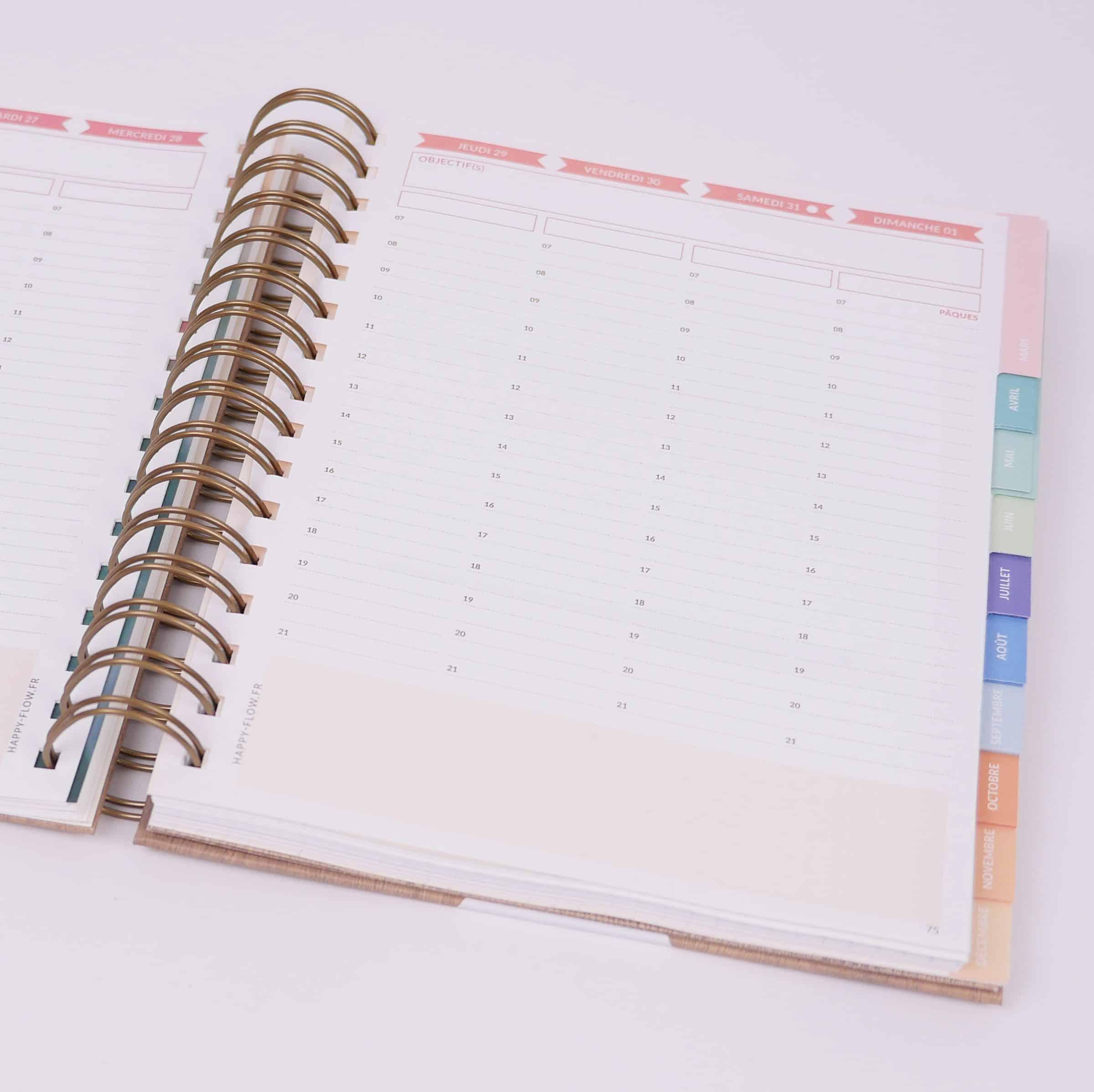 L'agenda de HappyFlow aide à se fixer des objectifs pour l'année, par mois et par semaine